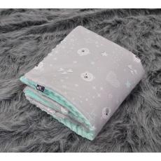Teplá deka s polštářkem ELFan mentolové hvězdičky
