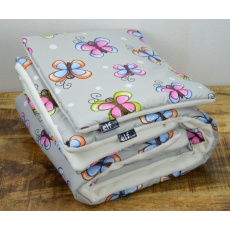 Teplá deka s polštářkem ELFan motýlci+ bílá