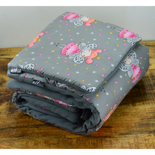 Teplá deka s polštářkem ELFan víly + šedá