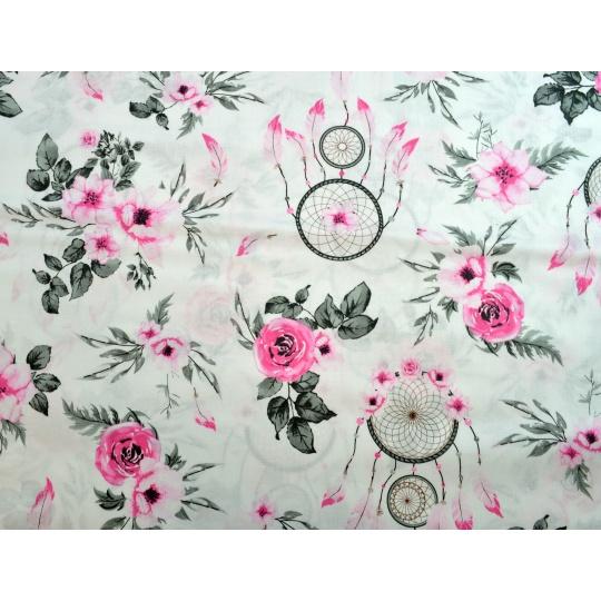 100% bavlněné plátno  šíře 160cm lapače snů růžové