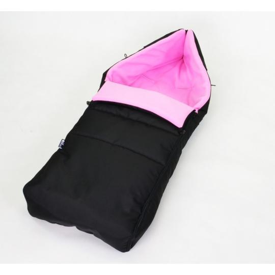 Zimní fusak s fleecem 90 cm - černá + růžová