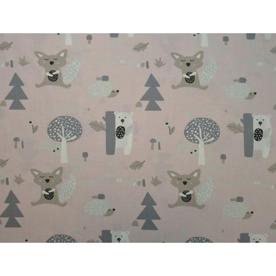 100% bavlněné plátno  šíře 160cm  medvěd za stromem 2