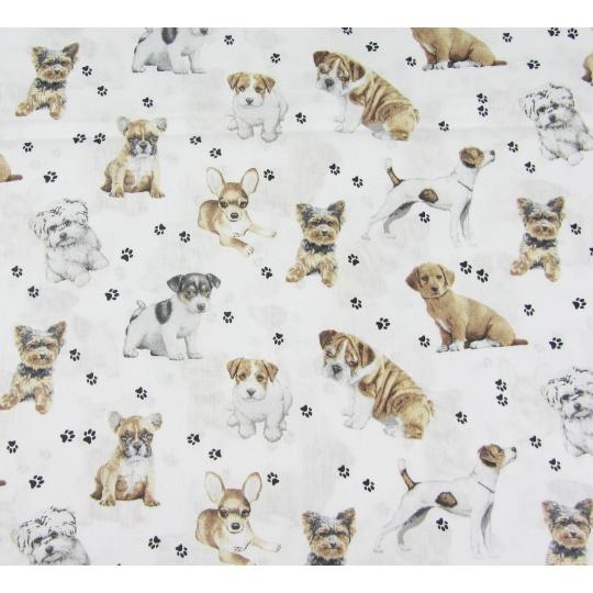 100% bavlněné plátno šíře 160cm pejsci na bílé