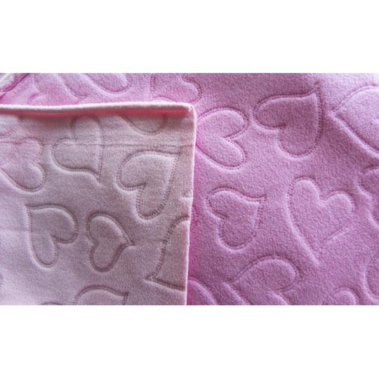 Fleece růžová+lososová srdíčko ultrazvuk