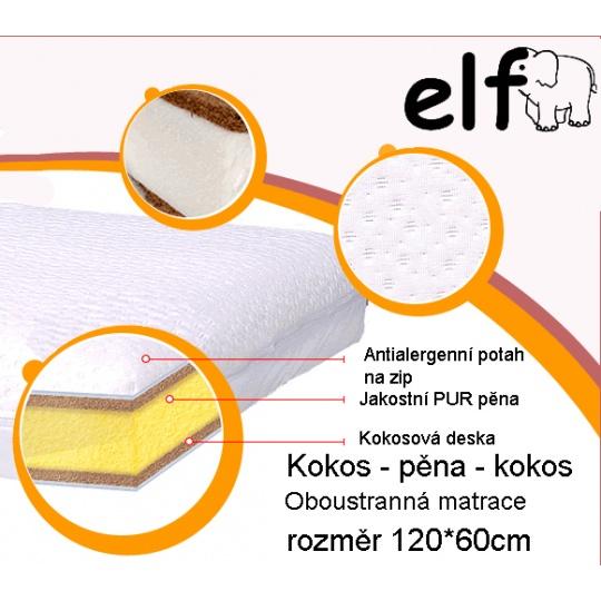 Matrace do postýlky ELFan pěna-kokos-pěna výška 9 cm
