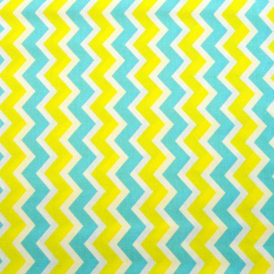 100% bavlněné plátno  šíře 160cm  cik cak žluto modrý