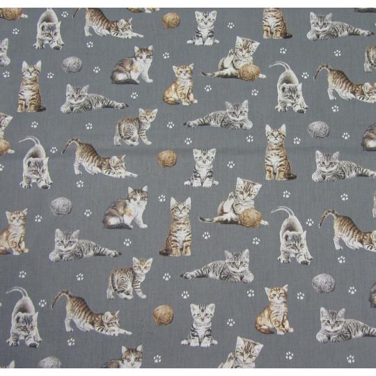100% bavlněné plátno šíře 160cm kočičky na šedé