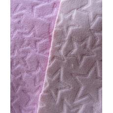 Fleece růžová+lososová hvězdičky ultrazvuk
