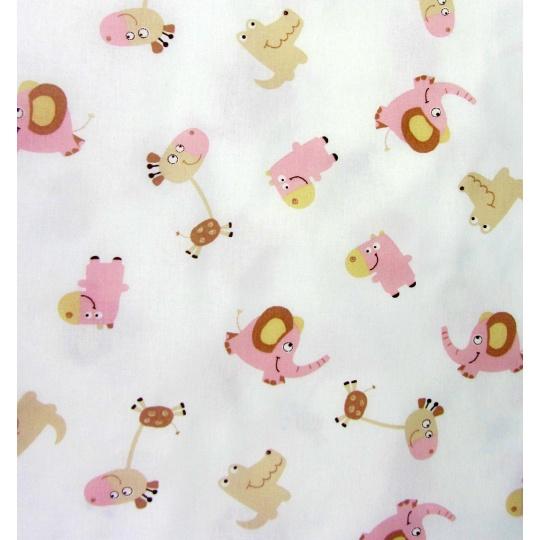 100% bavlněné plátno  šíře 240cm růžová zvířátka