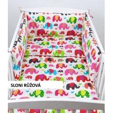 Povlečení + mantinel do velké postýlky - barevní sloni červená
