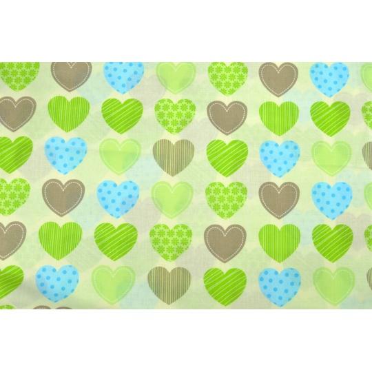 100% bavlněné plátno  - zelená srdce
