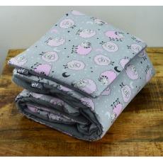 Teplá deka s polštářkem ELFan ovečky růžové + šedá