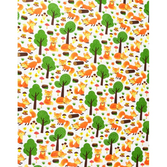 100% bavlněné plátno 40x160cm lišky se stromy