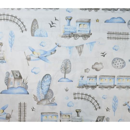100% bavlněné plátno  šíře 160cm vláčky modré