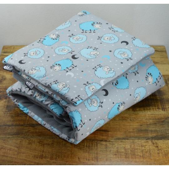 Teplá deka s polštářkem ELFan ovečky modré + šedá