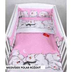 Povlečení + mantinel do postýlky - lední medvědi růžová