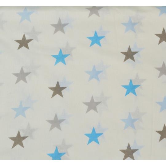 100% bavlněné plátno - modré HV na béžové