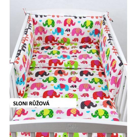 Povlečení + mantinel do postýlky - barevní sloní červená