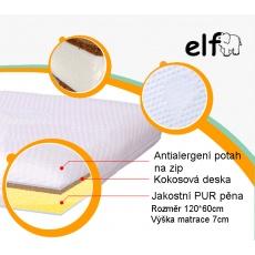 Matrace do postýlky ELFan pěna-kokos,120*60 výška 7 cm