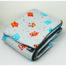 Teplá deka s polštářkem ELFan sovičky + šedá