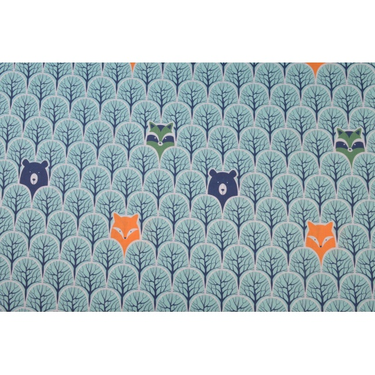 100% bavlněné plátno  šíře 160cm  zvířata v lese modrá