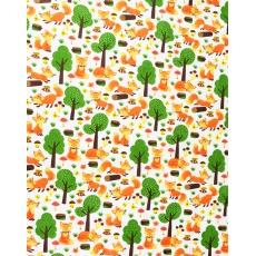 100% bavlněné plátno lišky se stromy