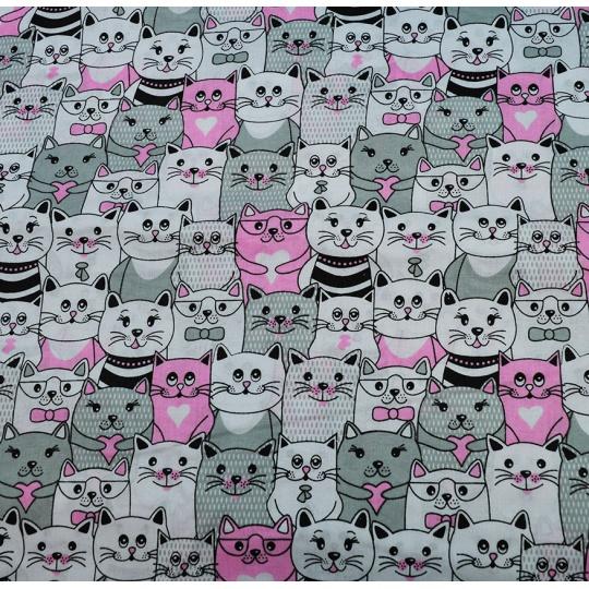 100% bavlněné plátno - kočky v kině růžové