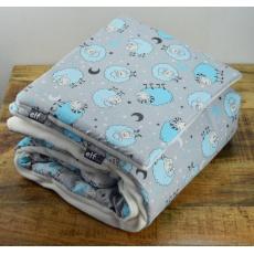 Teplá deka s polštářkem ELFan ovečky modré + bílá
