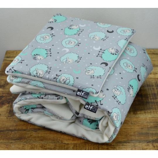 Teplá deka s polštářkem ELFan ovečky zelené + bílá