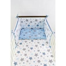 Povlečení + mantinel do postýlky - oboustranné hvězdičky modré