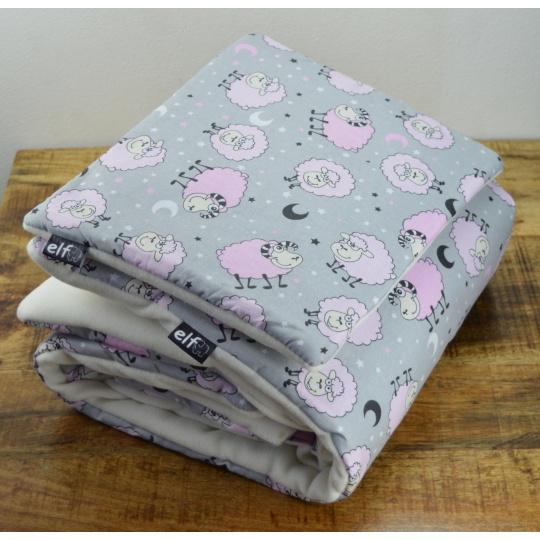 Teplá deka s polštářkem ELFan růžové ovečky + bílá
