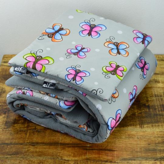 Teplá deka s polštářkem ELFan motýlci + šedá