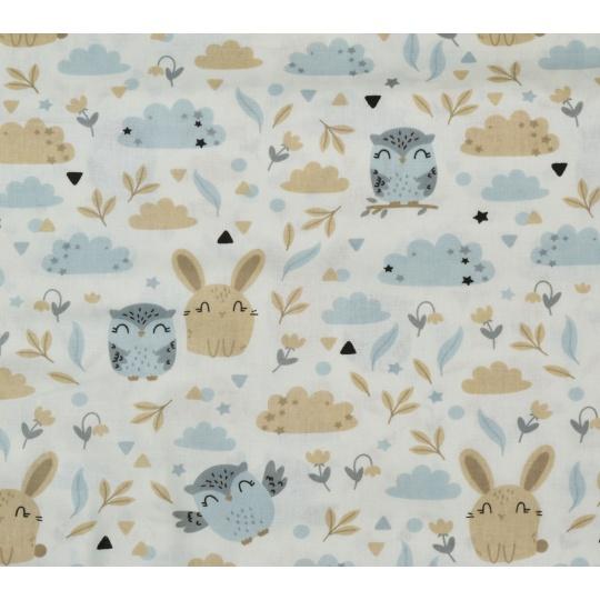100% bavlněné plátno - zajda + sovy
