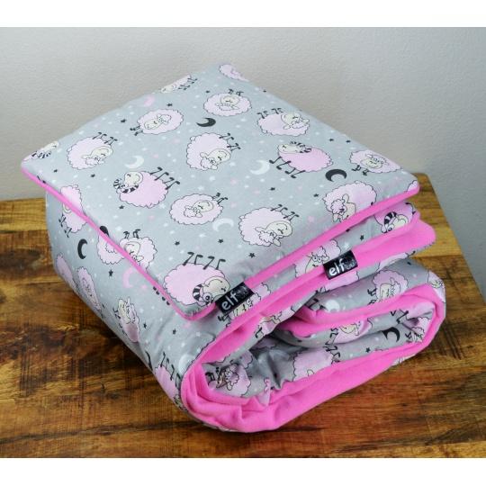 Teplá deka s polštářkem ELFan ovečky růžové+ růžová