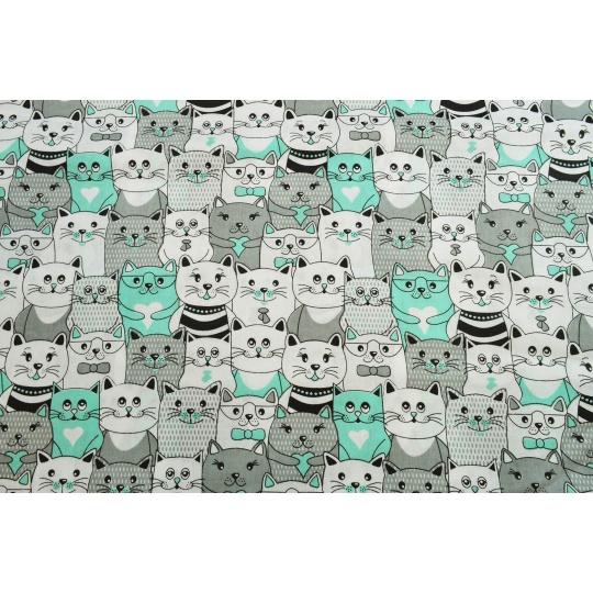 100% bavlněné plátno  šíře 160cm kočky v kině mentol