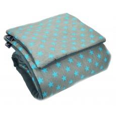 Teplá deka s polštářkem ELFan tyrkysové HV + šedá