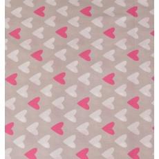 100% bavlněné plátno šíře 160cm růžové srdce na šedé