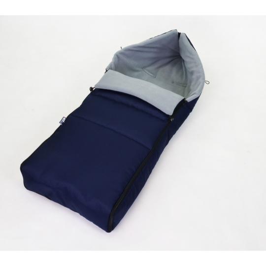 Zimní fusak s fleecem 90 cm - modrá + šedá