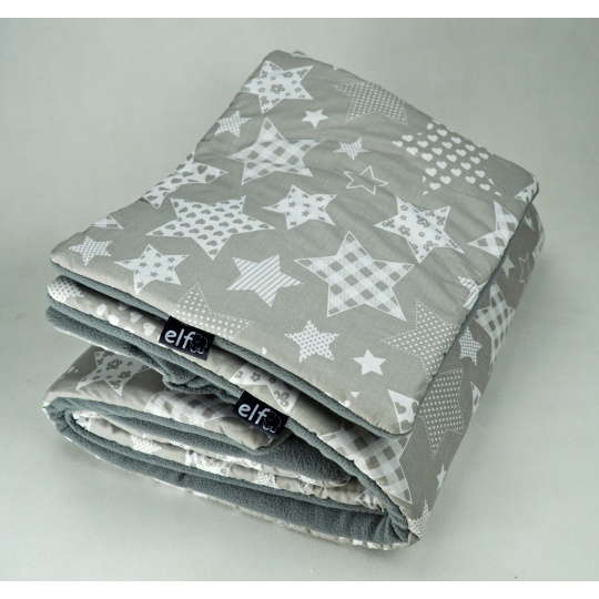 Teplá deka s polštářkem ELFan hvězdy + šedá
