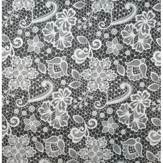 100% bavlněné plátno  šíře 160cm krajka na černé