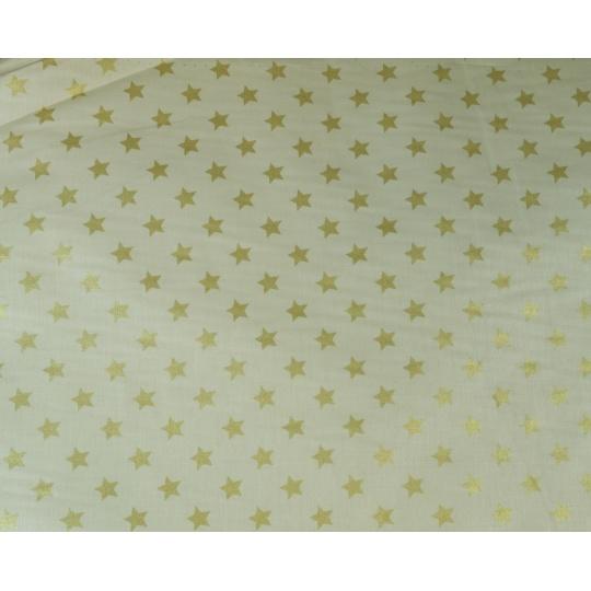 100% bavlněné plátno  šíře 160cm  zlatá + zlaté hvězdy