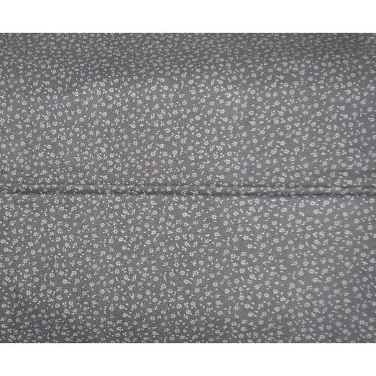 100% bavlněné plátno - drobné kytičky na šedé