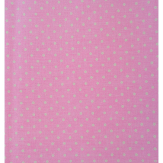100% bavlněné plátno  šíře 160cm bílé puntíky na růžové