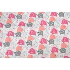 100% bavlněné plátno - růžoví sloni