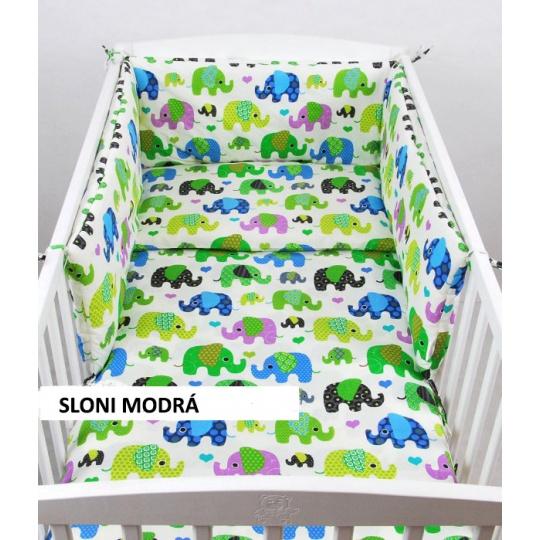 Povlečení + mantinel do postýlky - barevní sloní modrá