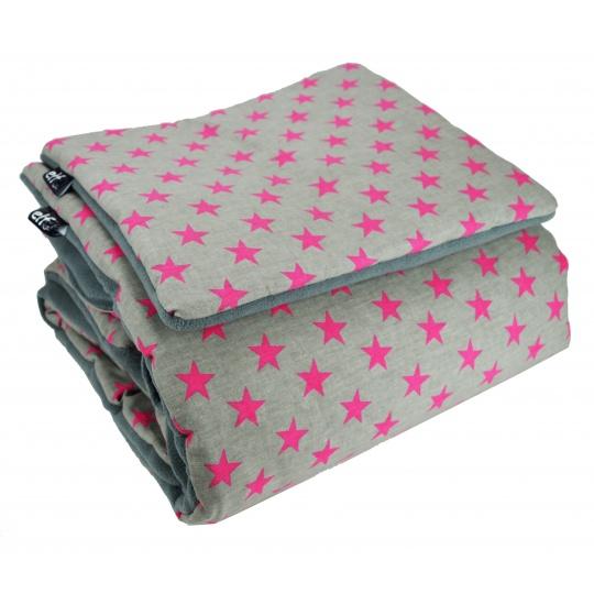 Teplá deka s polštářkem ELFan amarantové HV + šedá