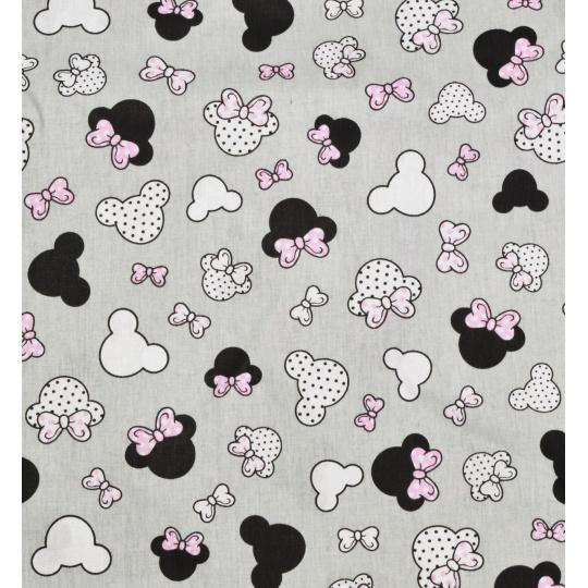 100% bavlněné plátno - miki růžové mašle