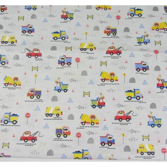 100% bavlněné plátno šíře 160cm nákladní auta na popelavá