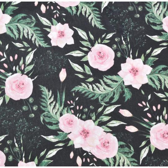 100% bavlněné plátno šíře 160cm divoké květy černé