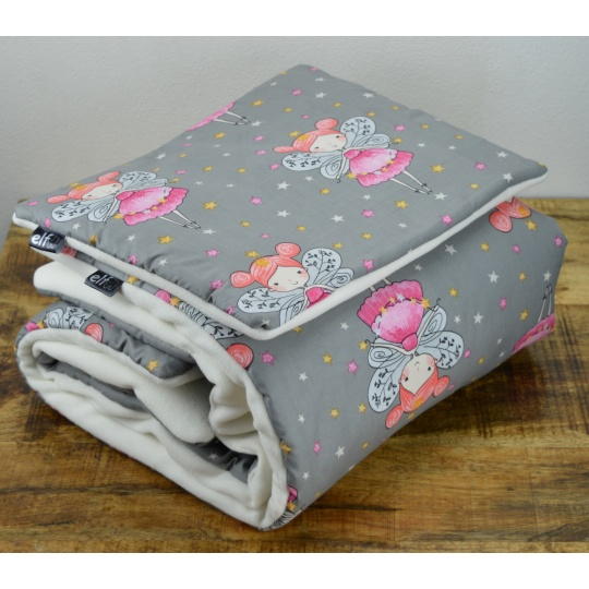 Teplá deka s polštářkem ELFan víly + bílá